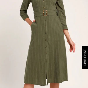 Lulus Olive green shirt dress size xs